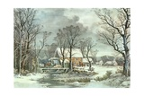 Winter in the Country - the Old Grist Mill, 1864 Giclee Print by  Currier & Ives