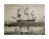 Views of the Blandford Frigate on the Passage to the West Indies and Trading on the Coast of… Giclee Print by Nicholas Pocock