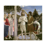 Baptism of Christ, Detail of Christ, John the Baptist and Angels, 1450 Giclee Print by  Piero della Francesca