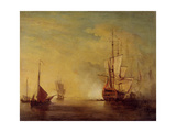Shipping in a Calm Sea Giclee Print by Charles Brooking