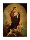 Virgin and Child in Glory, 1673 Giclée-tryk af Bartolome Esteban Murillo