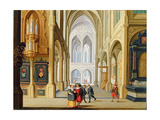 Elegant Figures in a Gothic Church, 17th Century Giclee Print by Dirck van Deelen
