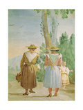 Two Peasant Women and a Child Seen from Behind, from the 'Foresteria' (Guesthouse) 1757 Giclée-tryk af Giandomenico Tiepolo