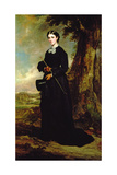 Young Woman Wearing a Black Riding Habit and Standing in a Landscape Giclee Print by Sir Francis Grant