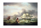Shipping Off Plymouth Sound Giclee Print by Thomas Luny