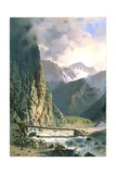 T1230 Plank Bridge in a Deep Gorge in the Caucasus Mountains, C.1860 Giclee Print by Luigi Premazzi