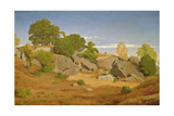Rocks at Fontainebleau Giclee Print by Theodore Caruelle D' Aligny