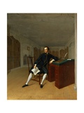Sir Roger Newdigate (1719-1806) in the Library at Arbury Giclee Print by Arthur Devis