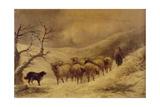 Shepherdess in the Snow, 1845-1900 Giclee Print by John Joseph Barker