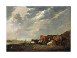 Cattle Near the Maas, with Dordrecht in the Distance Giclee Print by Aelbert Cuyp