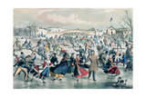 The Skating Pond, Pub. by Currier and Ives, New York, 1862 Giclee Print by Charles Parsons