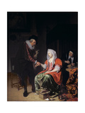 Doctor Taking a Young Woman's Pulse Giclee Print by Michiel Van Musscher