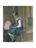 Portrait of Jeanne Holding a Fan, 19th Century Giclee Print by Camille Pissarro