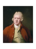 Portrait of Richard Arkwright, Half Length, in a Red Coat, White Stock and Yellow and Green… Giclee Print by Joseph Wright of Derby
