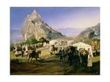 The Summer Camp of the Regiment of Nizhegorodsky Dragoons Near Karagach Giclee Print by Grigori Grigorevich Gagarin