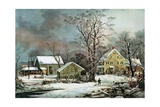 Winter in the Country - a Cold Morning, New England Giclee Print by  Currier & Ives
