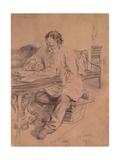 Lev Nikolaevich Tolstoy (1828-1910) at Work, 1891 Giclee Print by Ilya Efimovich Repin