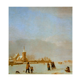 Winter Landscape with Skaters Giclee Print by Adriaen van de Velde