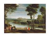 Landscape with St. John Baptising, C.1610-20 Lámina giclée por  Domenichino