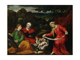Rest on the Flight into Egypt with St. John the Baptist, St. Elizabeth and St. Catherine C.1545 Giclée-tryk af Paris Bordone