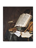 Books and Musical Instruments Giclee Print by Jan Vermeulen