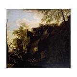 A Rocky Landscape C.1640 Giclée-tryk af Salvator Rosa
