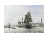 Large Sailing Boats at Honfleur Giclee Print by Johan-Barthold Jongkind