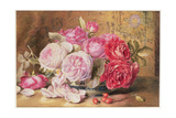 Pink and Red Roses in a Bowl Giclee Print by Mary Elizabeth Duffield