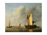 A Kaag Anchored by a Sandbank with Two Other Vessels, C.1650-59 Giclée-Druck von Willem Van De, The Younger Velde