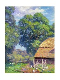 Farmyard with Poultry Giclee Print by Gabriel Edouard Thurner