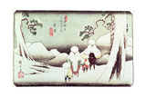 'Travellers in the Snow at Oi', from the Series '69 Stations of Kisokaido', Pub. Late 1830's Giclee Print by Ando or Utagawa Hiroshige
