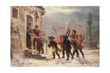 Children Collecting Fruit at the Door Giclee Print by Leopold Till