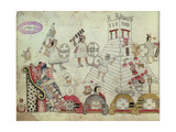 Prisoners of War Sacrificed to the Sun God, from an Aztec Codex (Post Conquest, 1519) Giclee Print by  Aztec