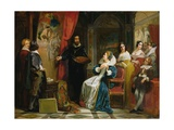 Marie De Medici (1573-1642) Visiting the Studio of Rubens, 1839 Giclee Print by Claude Jacquand