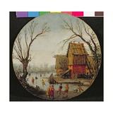 Winter Landscape with Skaters Giclee Print by Esaias I van de Velde
