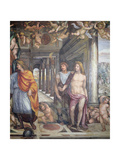 The 'Sala Delle Nozze Di Alessandro E Rossana' (Hall of the Marriage of Alexander the Great… Giclée-tryk af Giovanni Antonio Bazzi Sodoma