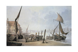 Low Tide on the Thames Giclee Print by Thomas Rowlandson