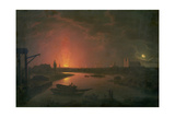 Old Drury Lane Theatre on Fire, February 24th 1809, 1809 Giclee Print by Abraham Pether