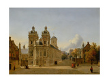 Cityscape with a Church and a Square, C.1666-69 Giclee Print by Jan Van Der Heyden