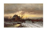 Winter Landscape at Sunset Giclee Print by Ludwig Munthe