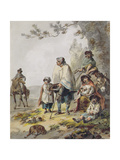 A Gypsy Family Giclee Print by Julius Caesar Ibbetson