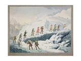 Valentine-Richards. Ascent of Mont Blanc by M. De Saussure in August 1787, C.1790 Giclee Print by Christian Von Mechel