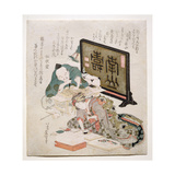 Block Cutting and Printing Surimono, 1825 Giclee Print by Katsushika Hokusai