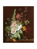 Hollyhocks and Other Flowers in a Vase, 1702-20 Giclee Print by Jan van Huysum