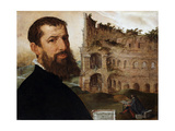 Self Portrait of the Painter with the Colosseum in the Background, 1553 Giclee Print by Maerten van Heemskerck