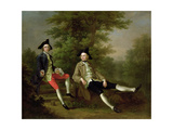 Portrait of David Garrick (1717-79) (Left) and William Windham of Felbrigg (1717-61) (Right) C.1745 Giclee Print by Francis Hayman