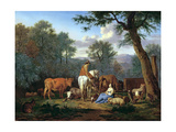 Landscape with Cattle and Figures, 1664 Giclee Print by Adriaen van de Velde