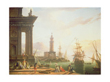 A Mediterranean Port Scene, 1752 Giclee Print by Charles Francois Lacroix de Marseille