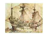 Ship with Armed Men Giclee Print by Hans Holbein the Younger