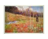 A Landscape in Spring, with a Nun Walking Among Daffodils Giclee Print by John George Sowerby